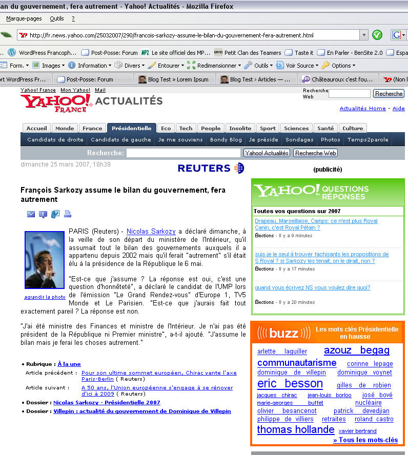 Yahoo! et Sarkozy